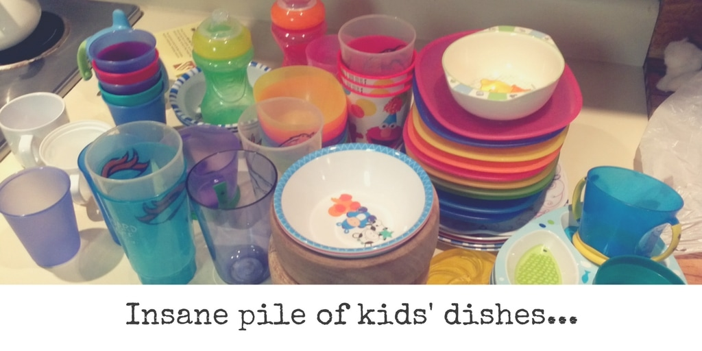 The kid dishes were so numerous they would all tumble out when I opened the cabinet!